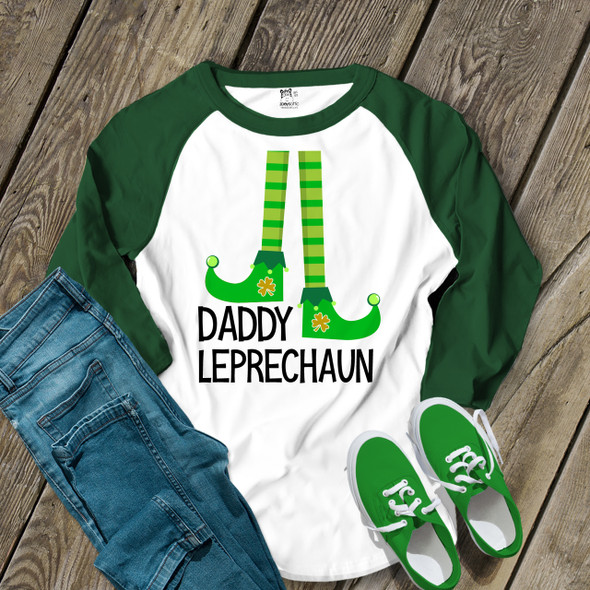 St. Patrick's Day daddy leprechaun adult raglan shirt