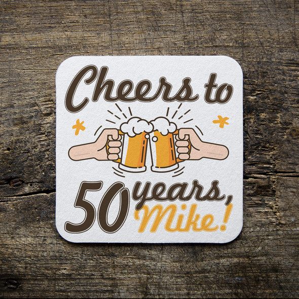 Birthday cheers custom square pulpboard coasters