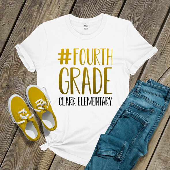Teacher #fourth grade any color gradient text personalized Tshirt