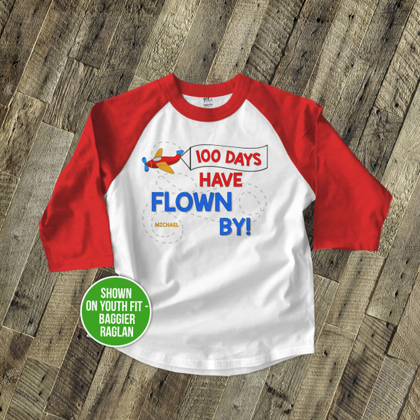 Student 100 days flown by airplane KIDS raglan shirt