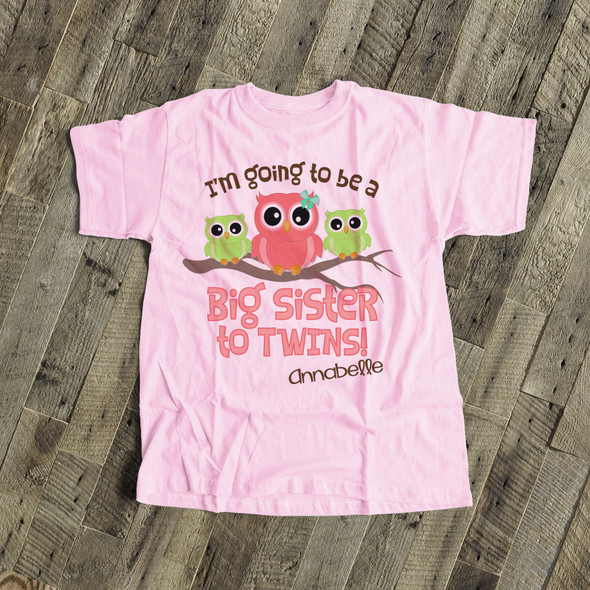 Big sister to be shirt big sister to twins owl pregnancy announcement Tshirt