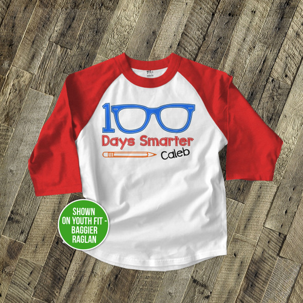 Student 100 days smarter eyeglasses KIDS raglan shirt