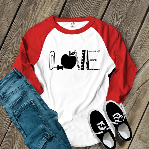 Teacher love apple school supplies adult raglan shirt