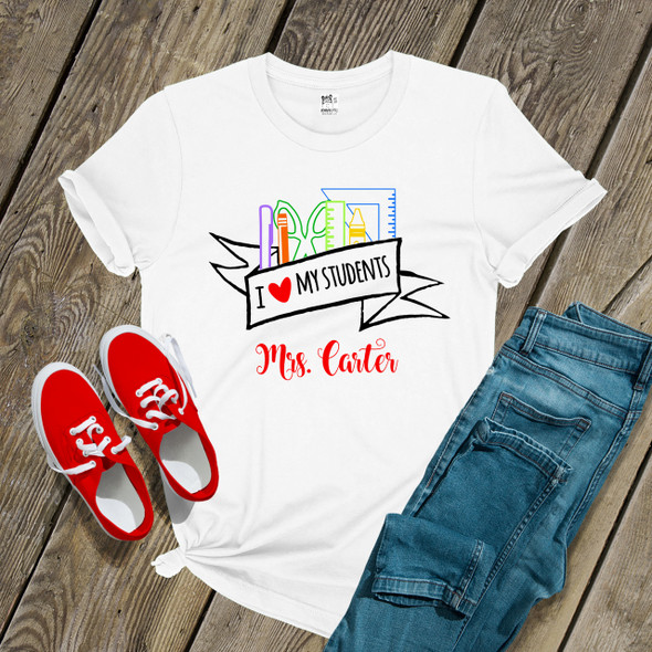 Teacher heart my students school supplies Tshirt