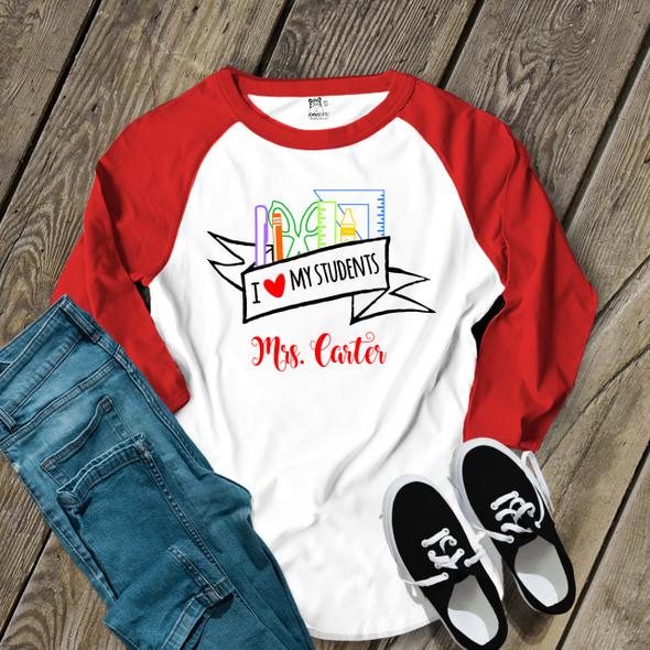 Teacher heart my students school supplies adult raglan shirt