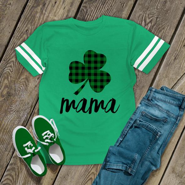 St. Patrick's Day mama green buffalo plaid shamrock GREEN unisex Tshirt