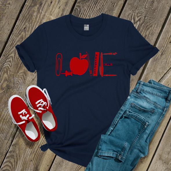 Teacher love apple school supplies DARK shirt