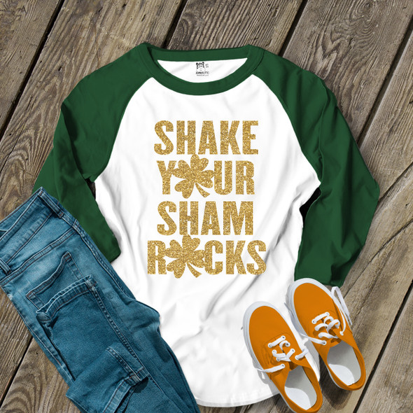 Funny St. Patricks Day glitter shake your shamrocks adult raglan shirt