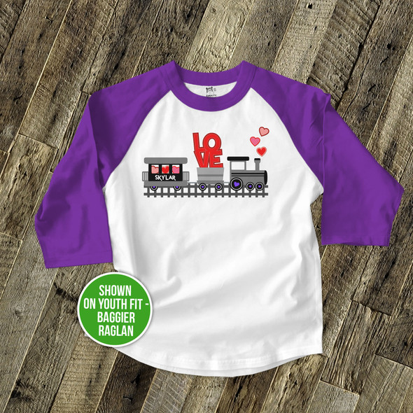 Valentine love train personalized raglan shirt
