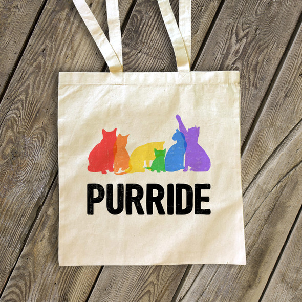 Pride rainbow cats purride tote bag