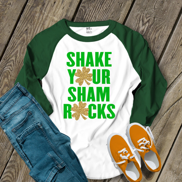 Funny St. Patricks Day shake your glitter shamrocks adult raglan shirt