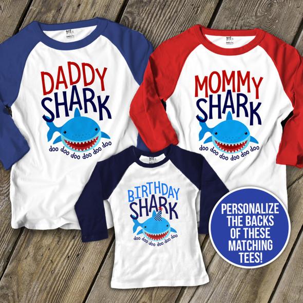 Birthday baby shark family matching THREE raglan shirt set