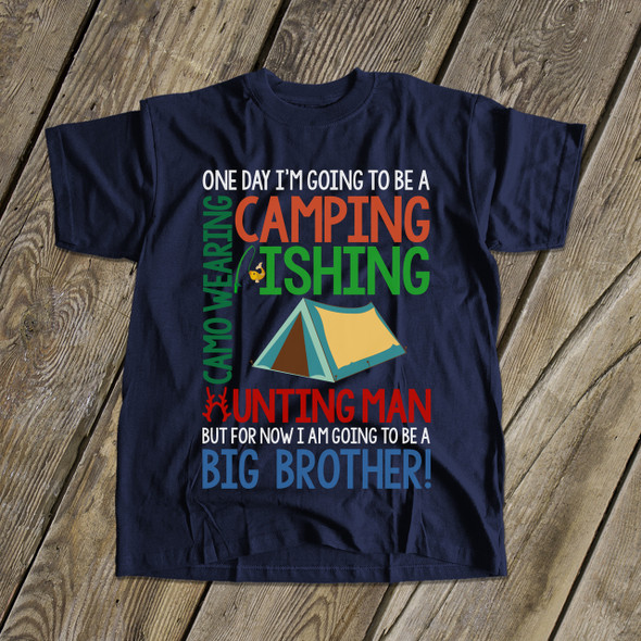 Big brother to be camping fishing hunting pregnancy announcement DARK Tshirt