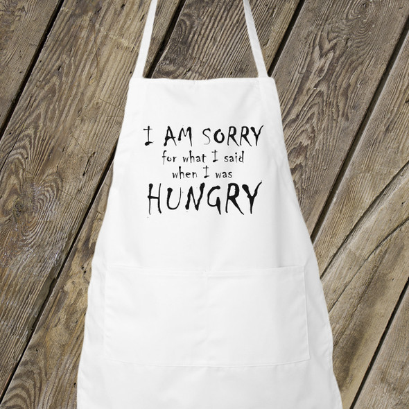 Funny sorry I was hungry adult apron