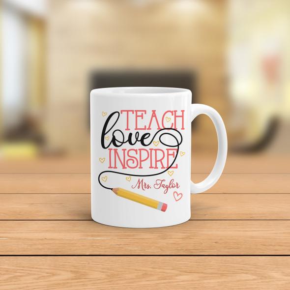 Teach love inspire personalized coffee mug