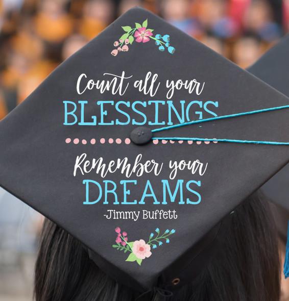 Custom vinyl quote art design for graduation cap