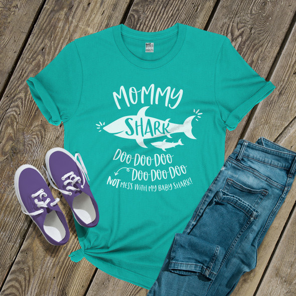Mommy shark doo not mess with my baby DARK shirt