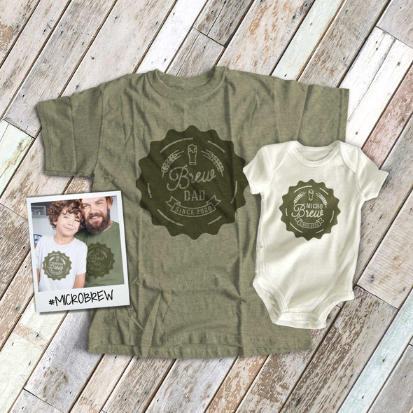 Father's Day brew dad micro brew baby matching shirt and bodysuit gift set
