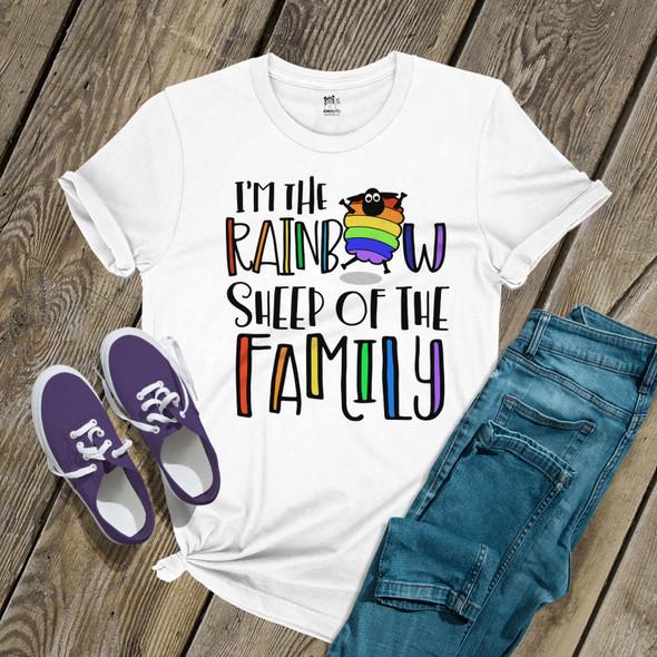 Pride rainbow sheep of the family unisex Tshirt