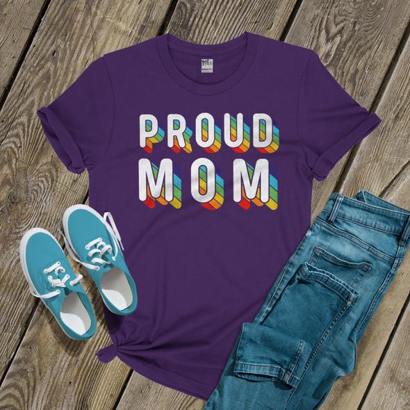 Proud Mom rainbow pride DARK shirt