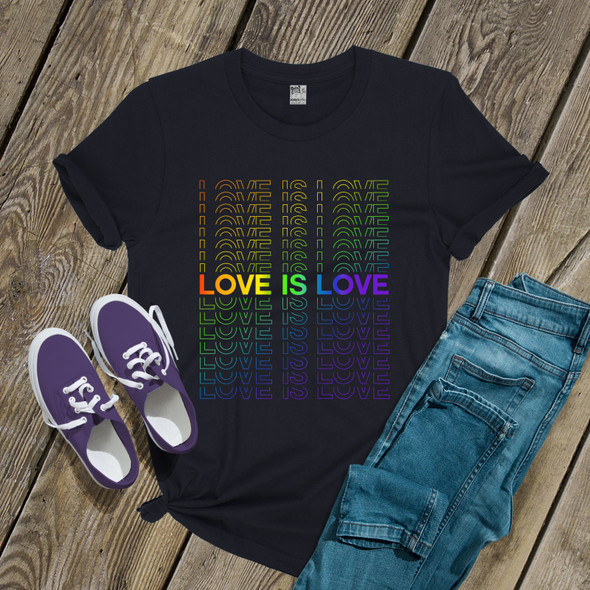 Love is love repeating words pride DARK shirt