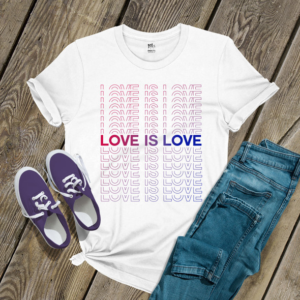 Pride bisexual love is love repeating words unisex Tshirt