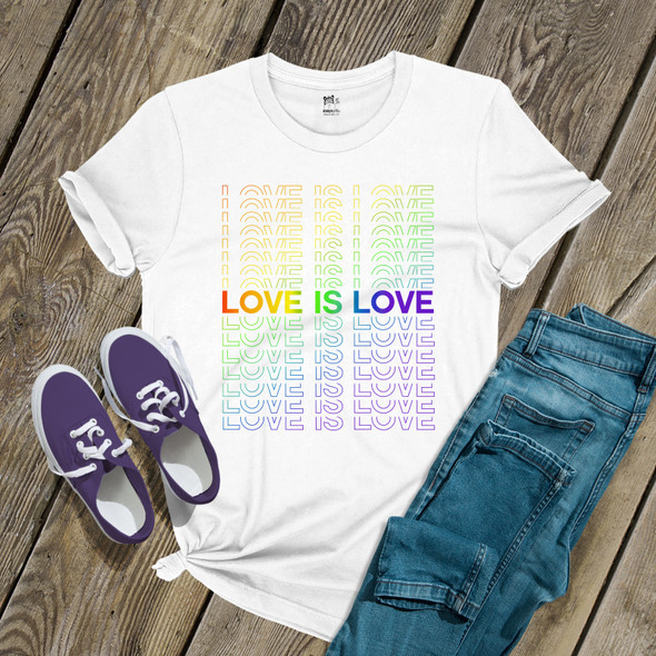 Gay Pride rainbow love is love repeating words unisex Tshirt