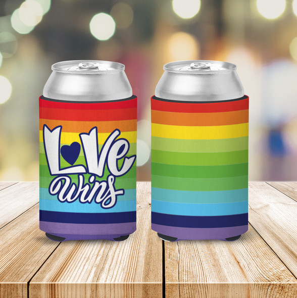 Pride love wins rainbow can coolies