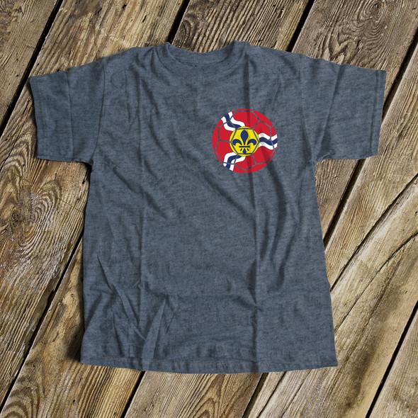 Soccer Saint Louis flag unisex dark Tshirt