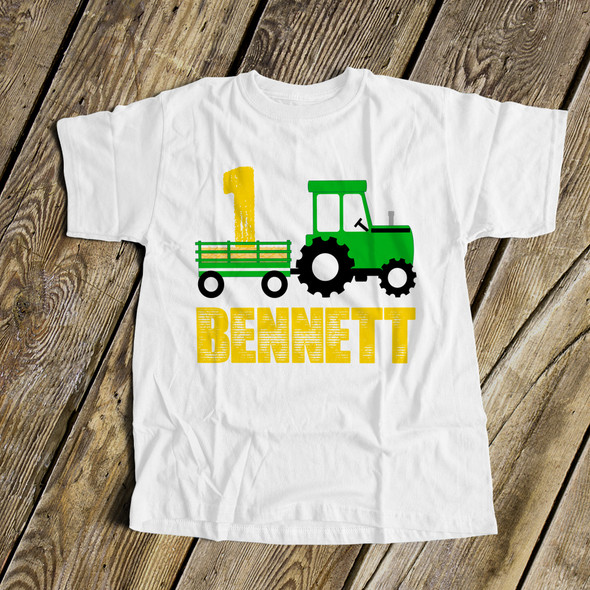 First birthday green yellow tractor plow personalized Tshirt