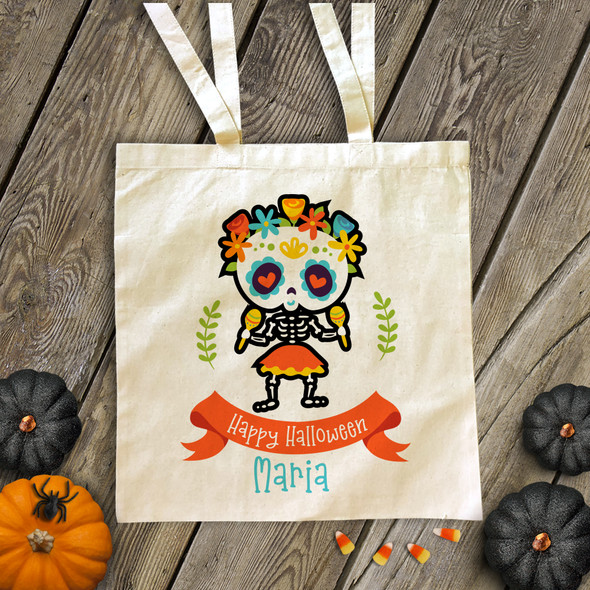 Halloween day of the dead personalized trick or treat tote bag