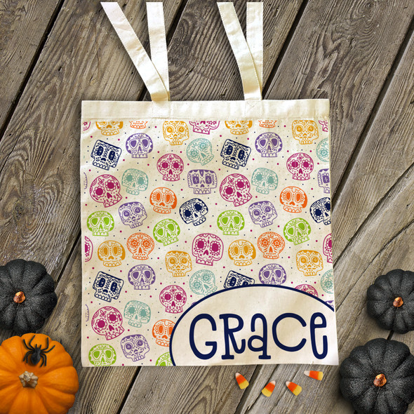 Halloween day of the dead mask personalized trick or treat tote bag