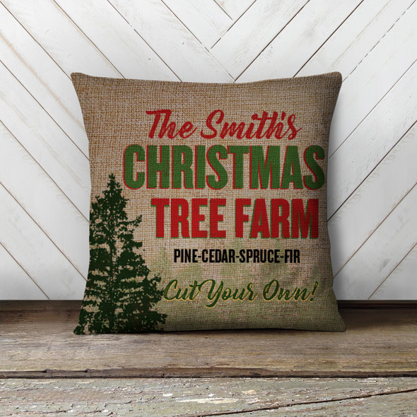 Christmas tree farm personalized family pillowcase pillow