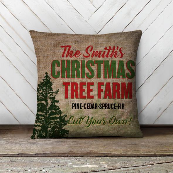 Christmas tree farm personalized family pillowcase pillow