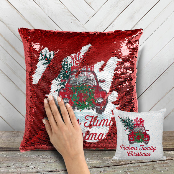Vintage family Christmas decorative sequin pillowcase pillow