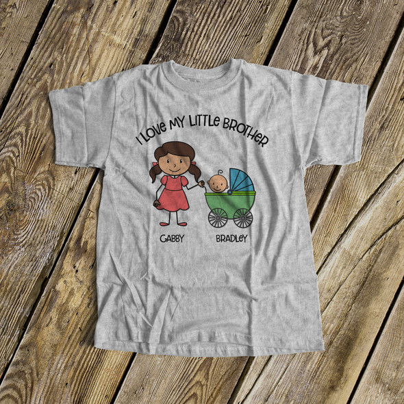 Big sister shirt stick figure I love my little brother Tshirt