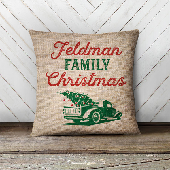 Family retro green Christmas truck personalized pillowcase pillow