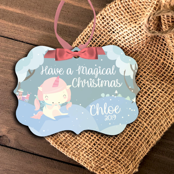 Unicorn girl magical Christmas personalized ornament