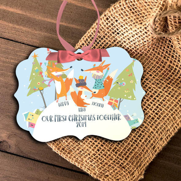 First Christmas together daddy mommy baby fox personalized ornament