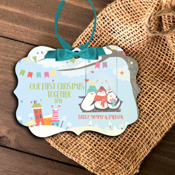 First Christmas together daddy mommy baby penguin personalized ornament