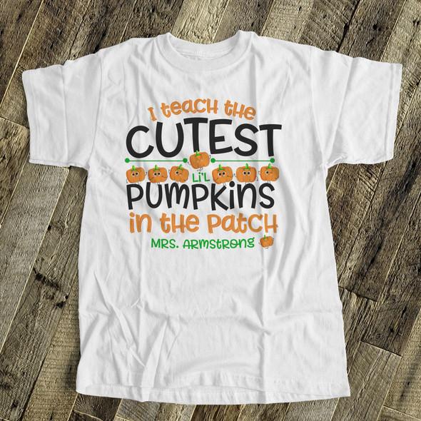 Halloween teacher cutest li'l pumpkins personalized shirt