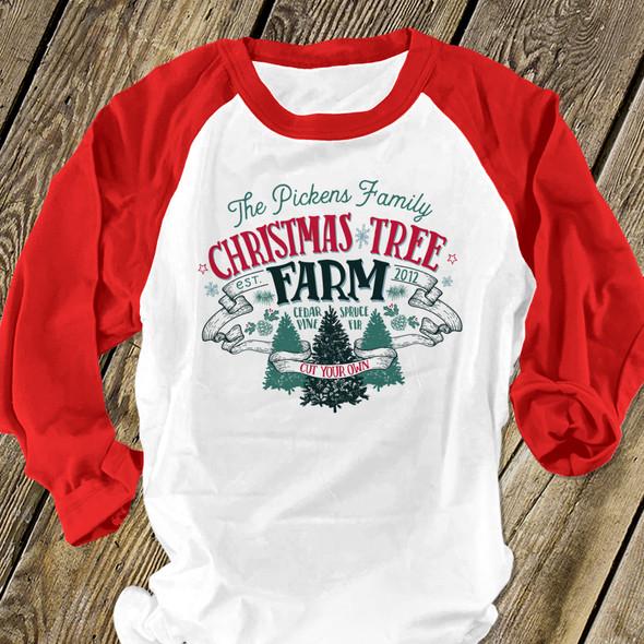 Christmas tree farm family personalized unisex ADULT raglan shirt