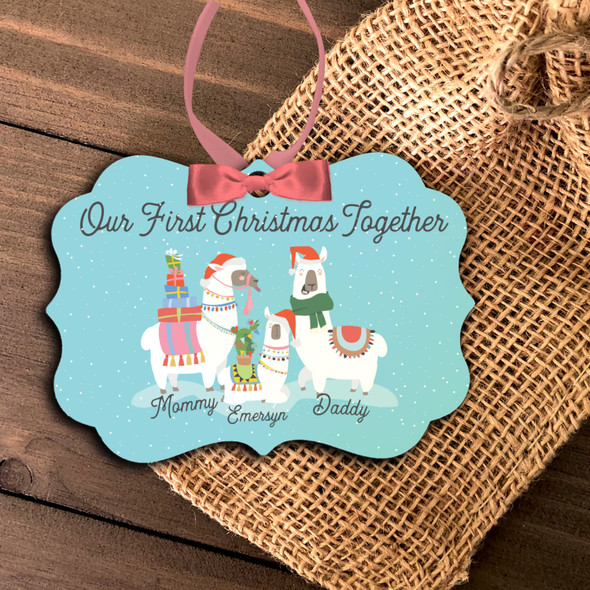 First Christmas together daddy mommy baby llama personalized ornament