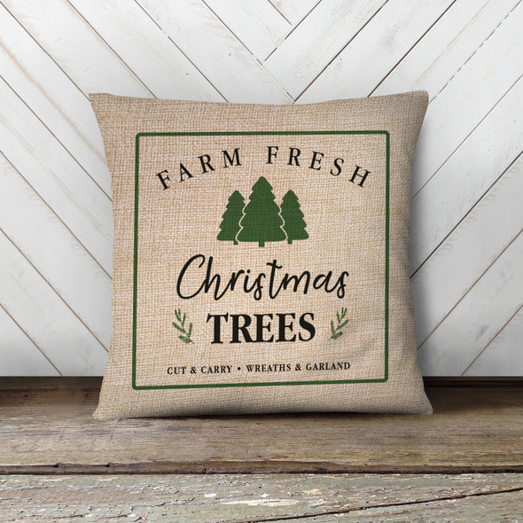Christmas farm fresh Christmas trees pillowcase pillow