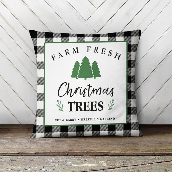 Christmas farm fresh Christmas trees plaid pillowcase pillow