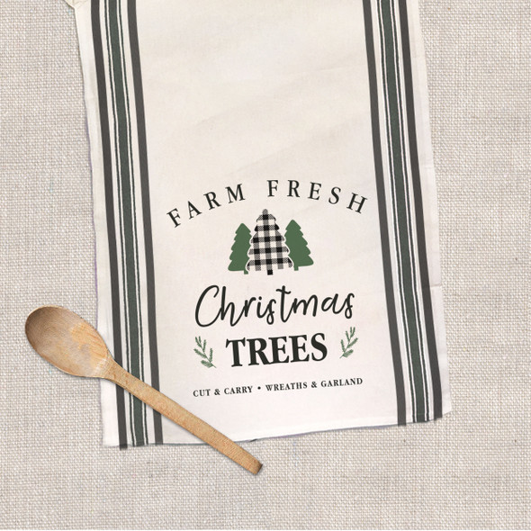 Christmas farm fresh Christmas trees decorative multi stripe tea towel