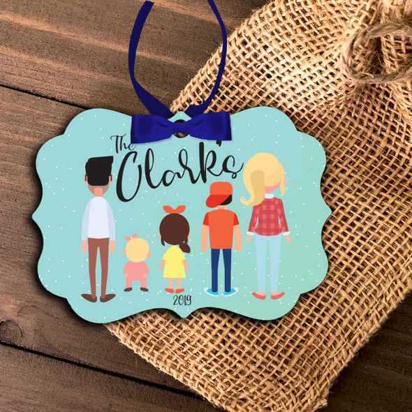 Family characters keepsake personalized holiday ornament