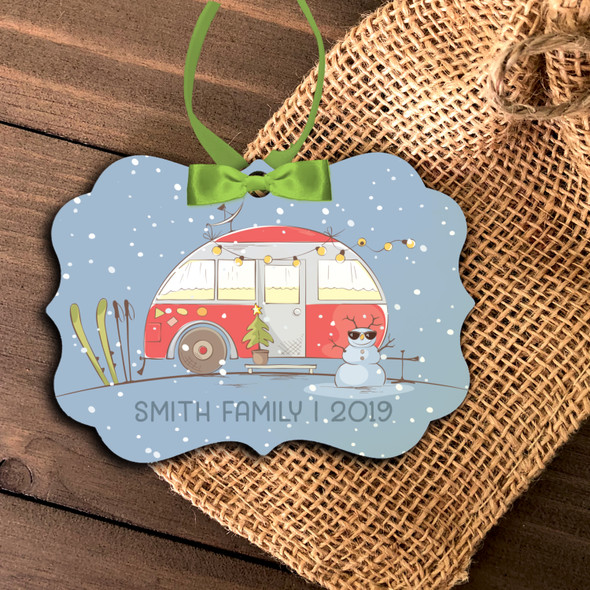 Holiday family ski trip personalized Christmas ornament