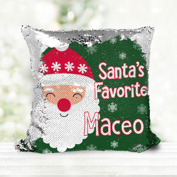 Santa's favorite personalized decorative sequin Christmas pillowcase pillow