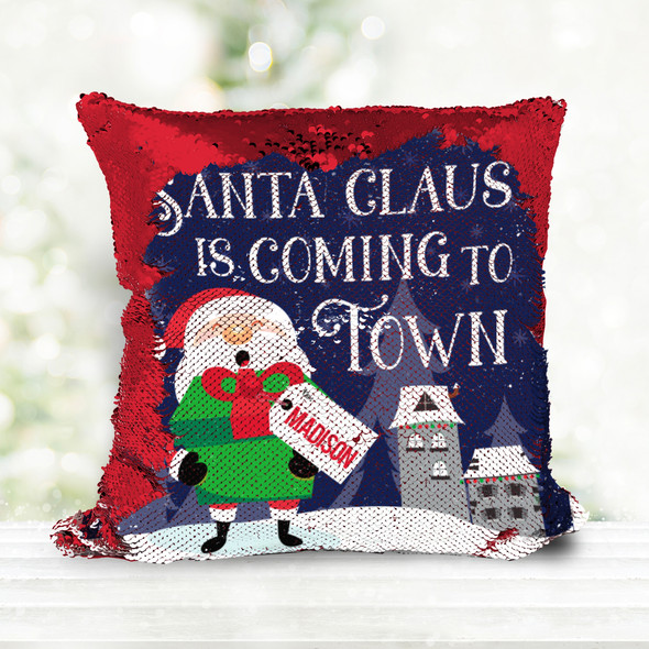 Santa Claus is coming to town holiday personalized decorative sequin pillowcase pillow